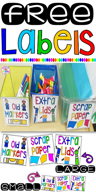 FREE Labels (Extra Lids, Paper Scraps, & Old Markers) to keep your classroom organized and getting the most out of your supplies.