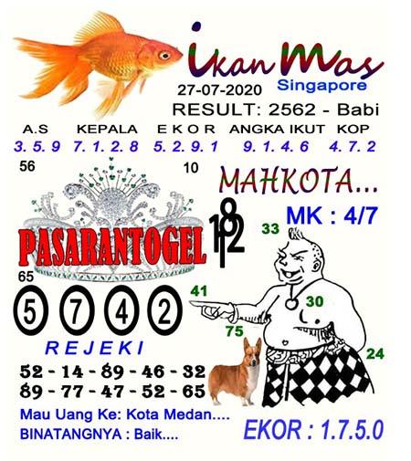 Syair Ikan Mas SGP Senin 27 Juli 2020