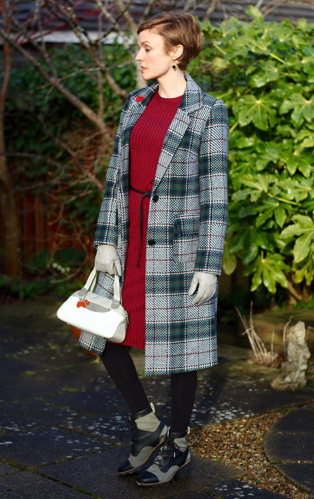 Checked wool coat and knitted dress | Slept-in outfit | Fake Fabulous