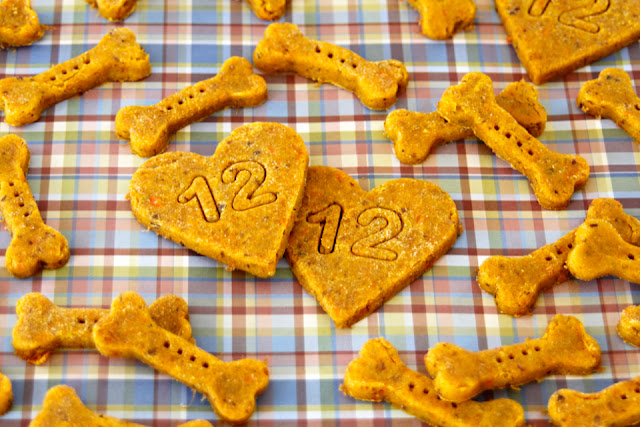 Bone shaped dog treats and heat shaped dog treats stamped with the number 12