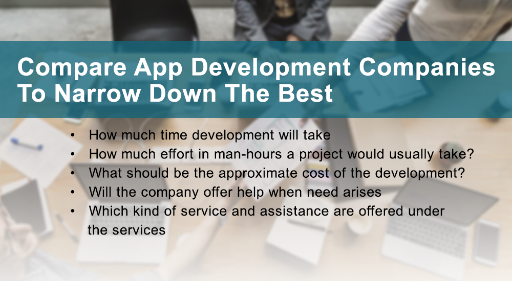Compare app development companies to narrow down the best