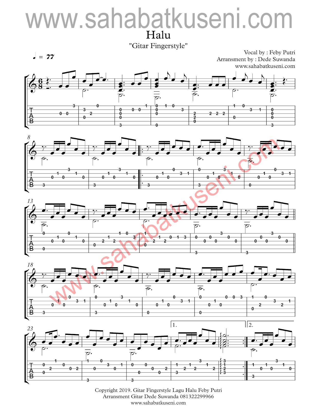 Tab dan Not Balok Gitar Fingerstyle Lagu Halu Karya Feby Putri