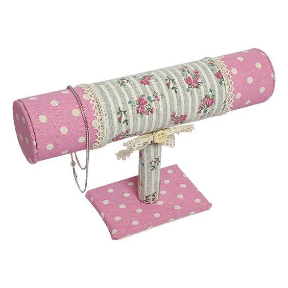 #NDF8812 Pink Fabric Covered T-Bar Bracelet Display