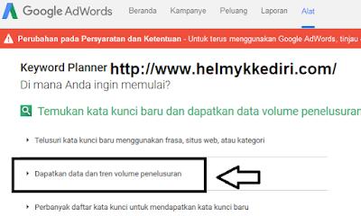 Riset keyword dengan google planner3