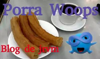 Plato con porras y chocolate y símbolo de WOONKLY