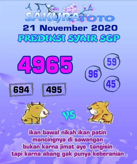 Prediksi Sakuratoto SGP Sabtu 21 November 2020