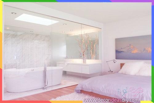 تصميم غرف نوم مع حمام وجدار زجاجي