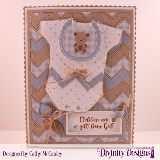 Divinity Designs Stamp Set: Sweet Baby, Paper Collection: Baby Boy, Custom Dies: Chevron Background, Baby Blessings, Pierced Rectangles, Scalloped Rectangles