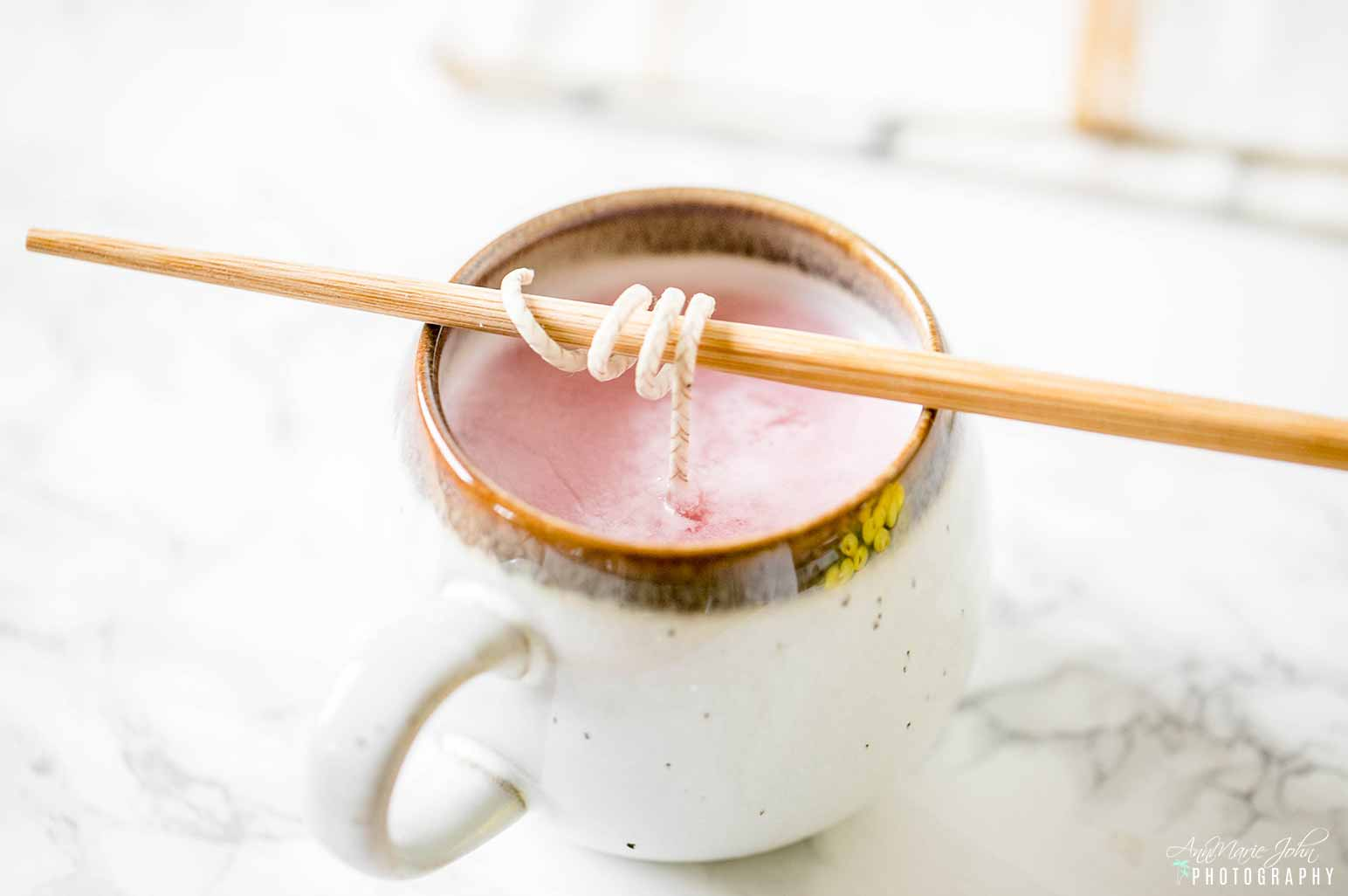 DIY Stoneware Mug Candle With Chopstick
