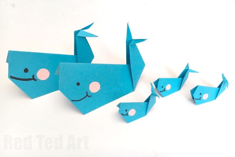 origami whale under the sea craft