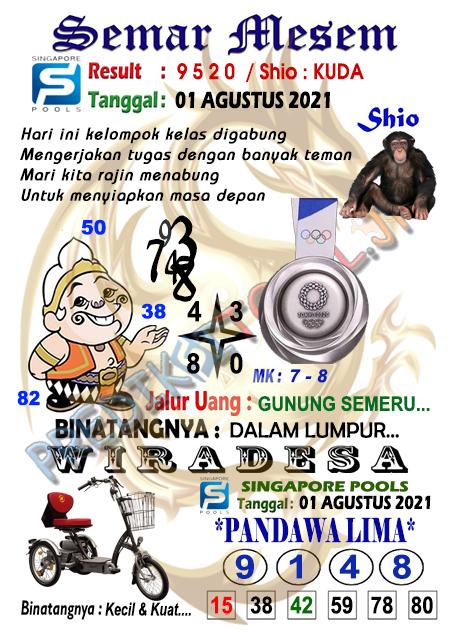 Syair Semar Mesem SGP Minggu 01-08-2021