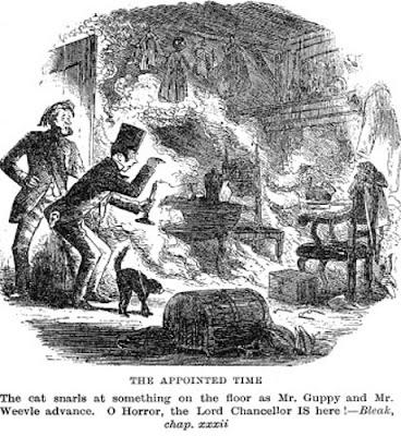 Illustrazione del caso di combustione umana spontanea in Bleak House di Charles Dickens