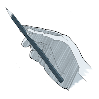 To draw, one way to hold the pencil is the overhand grip