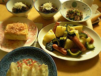 もずく 炒め物 焼き豆腐 餃子