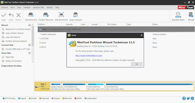 Screenshot MiniTool Partition Wizard Technician 11.5 Full Version