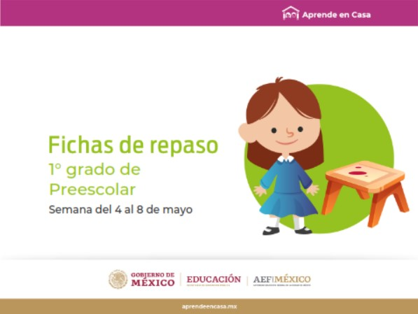 Preescolar Fichas de trabajo para Aprender en Casa de la semana del 4 al 8 de mayo