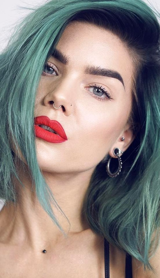 beauty makeup with red lips