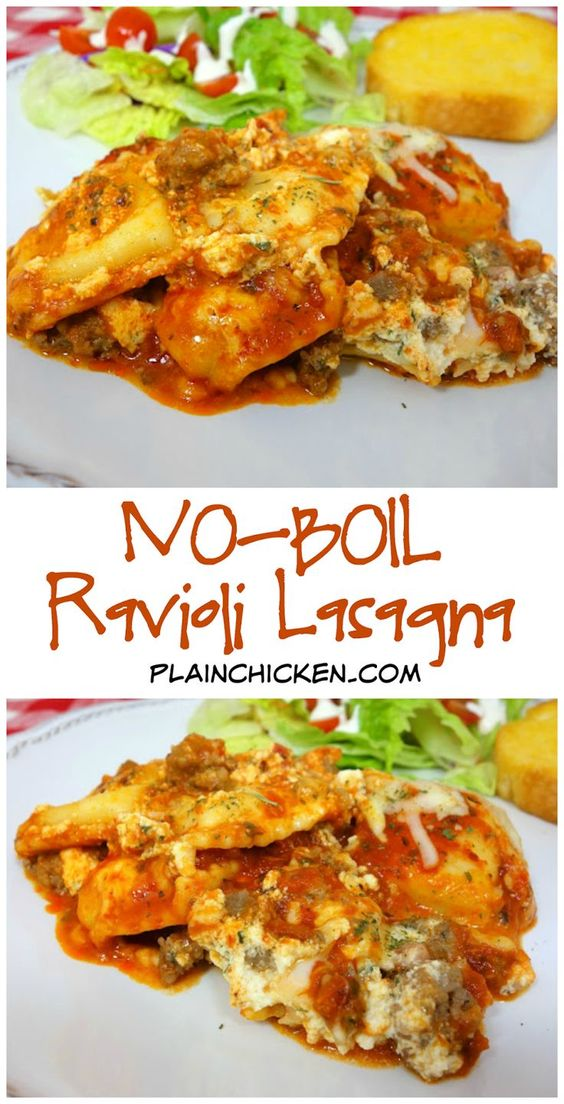 This ravioli bake is SO easy and SO delicious.  The thing I love best about this recipe is that you don't have to boil the ravioli before you bake them.  Just throw the frozen ravioli in the casserole dish and pop it in the oven.  It couldn't be easier! Read more at https://www.plainchicken.com/2013/02/no-boil-ravioli-lasagna.html#X4BM61bvR1GtJjKF.99