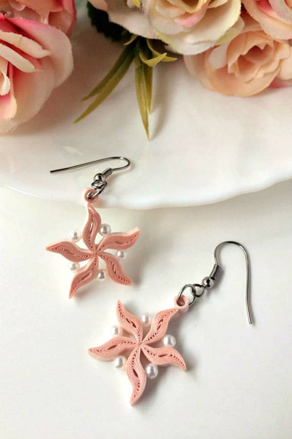 pastel pink quilled earring pair with pearls