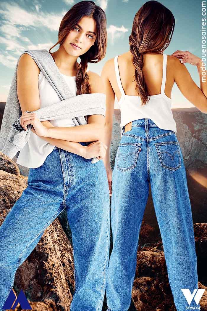 pantalon de jean mujer ancho 2022