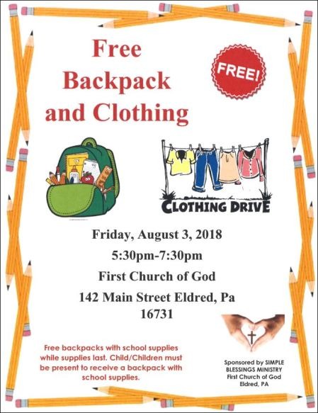 8-3 Free Backpack and Clothing Event