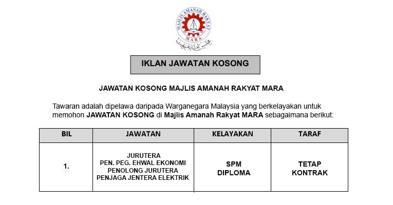Majlis Amanah Rakyat MARA [ Jawatan Kosong Terkini Dibuka ]
