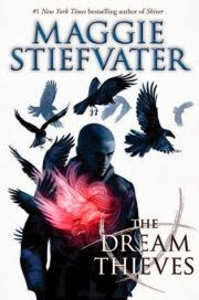 Cover of The Dream Thieves, featuring a young man with a shaved head. Ravens surround him, and he, too, has a burning red ember in his chest.