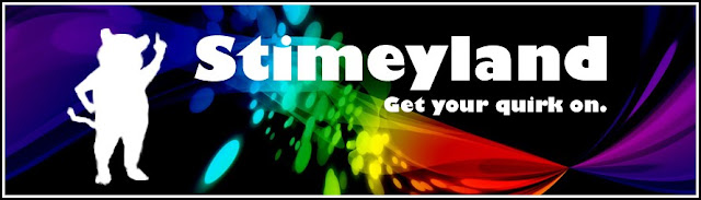 The original Stimeyland masthead: black background with rainbow pattern and a white mouse silhouette with text that says Stimeyland Get your quirk on.