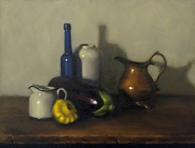 Still life oil painting of a yellow squash, a small milk jug, an eggplant, a blue castor oil bottle, a white vase and a copper jug.