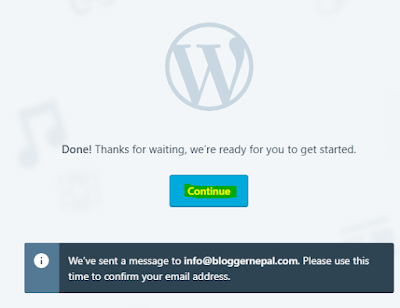 Create your first blog in Wordpress-- confirmation mail