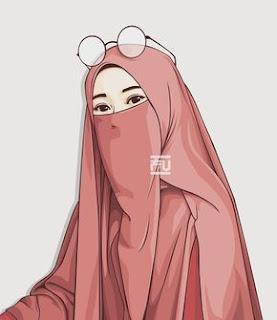 kartun muslimah bercada cantik