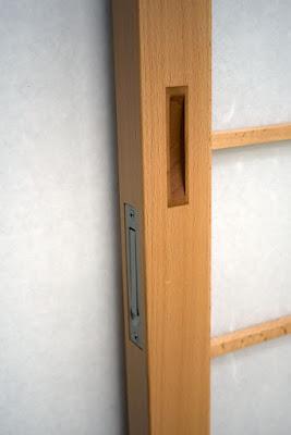 Shoji pocket door inlaid edge pull