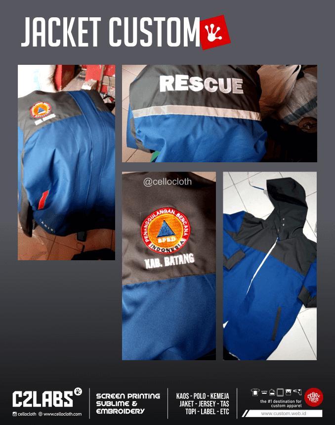 Proses Bikin Jaket BPBD Bahan Taslan Bordir Komputer - Konveksi Jacket Jogja