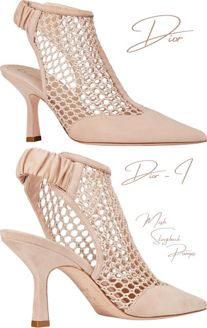 Nude Dior-I mesh calf suede slingback pumps #brilliantluxury