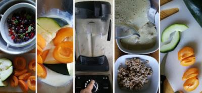 Zubereitung Getreidemüsli mit sommerlichen Früchten und Zuchini-Buttermilch