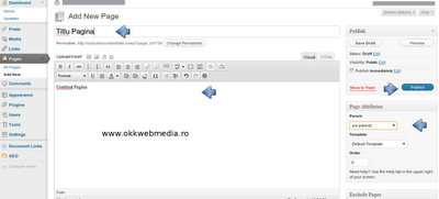 tutoriale wordpress -publicare pagina