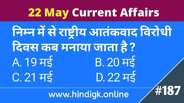 22 May 2021 Current Affairs In Hindi