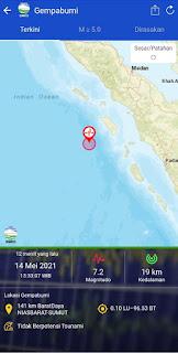 Gempa 7,2 SR Guncang Nias Barat, Guncangan Terasa di Gunungsitoli, Banda Aceh dan Aceh Tengah