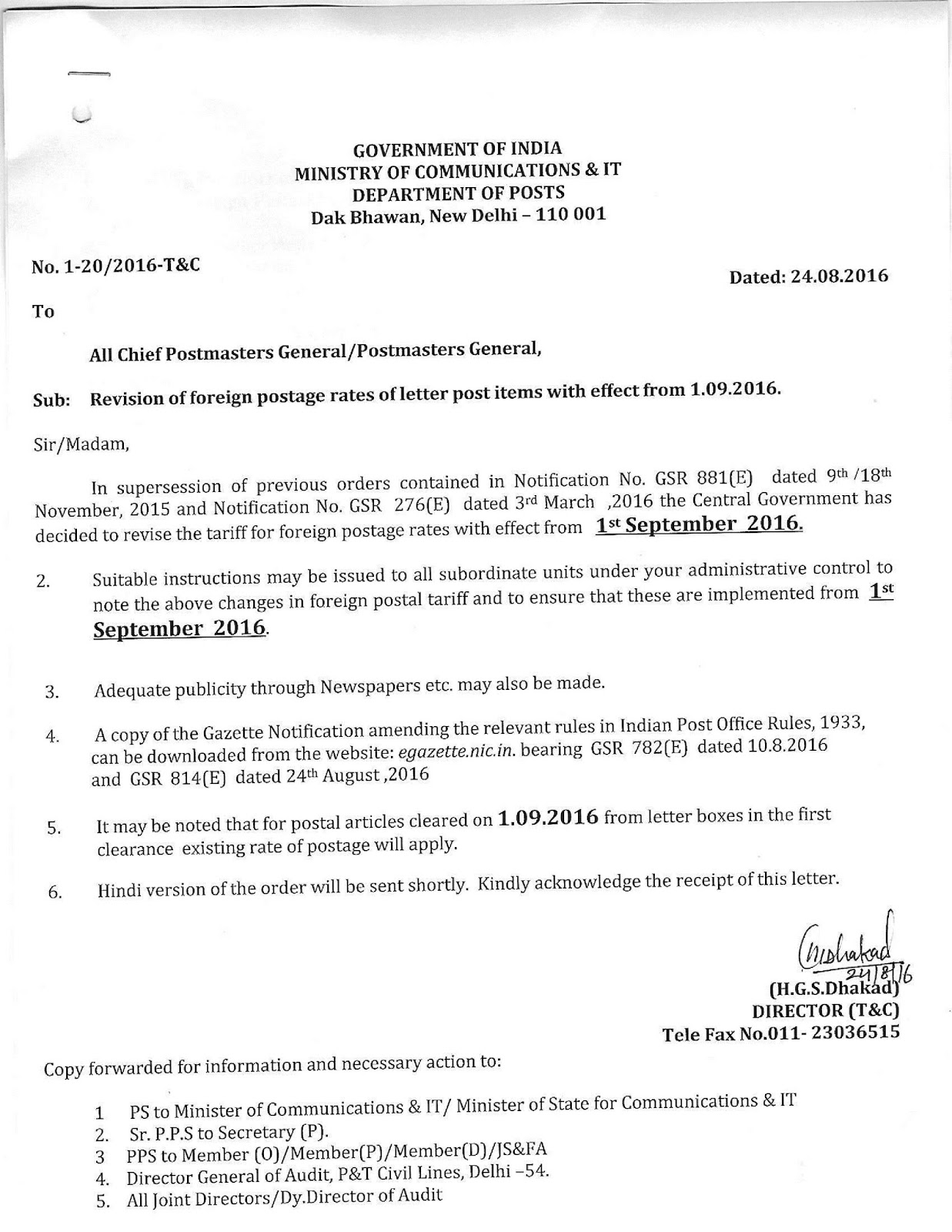revision of foreign postage rates of letter post items with effect from 01092016 corrigendum