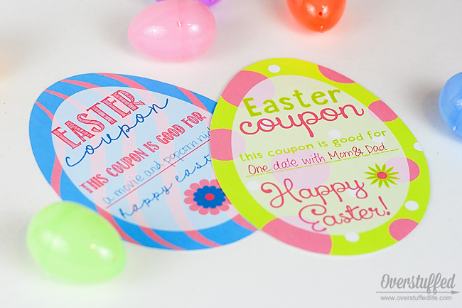 Cute Easter coupons you can include in your kids' Easter baskets. They can be for anything from no chores to a date with parents. #overstuffedlife