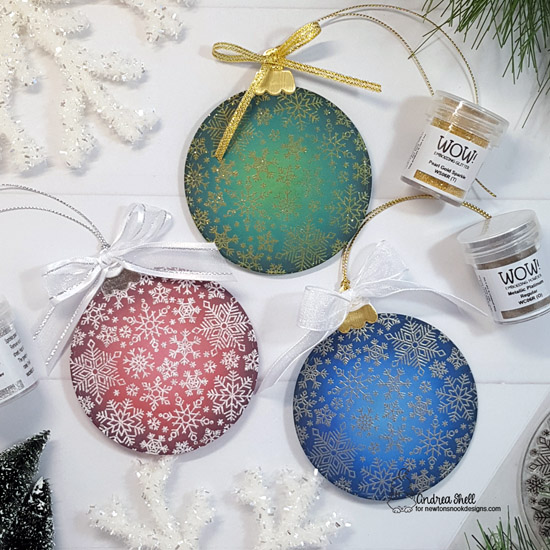 Snowflake Ornaments by Andrea Shell | Snowfall Roundabout Stamp Set, Ornament Shaker Die Set and Circle Frames Die Set by Newton's Nook Designs #newtonsnook #handmade