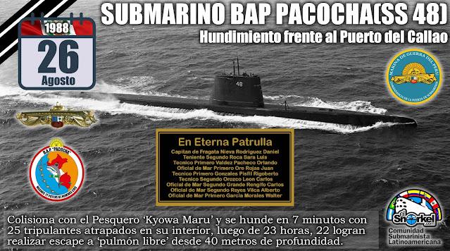 "B.A.P. ""PACOCHA"" (SS-48) Colisiona con el  ""KIOWA MARU"" (26/08/1988)"