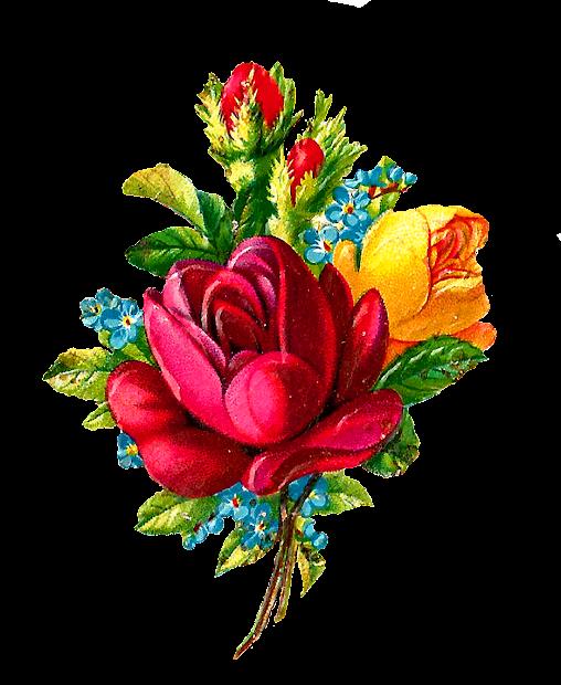 Antique Digital Red Rose Clip Art Flower