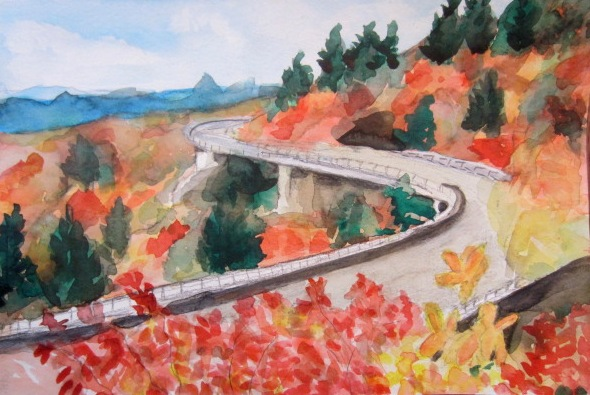 All Things Quilty And Artsy Linn Cove Viaduct Watercolor