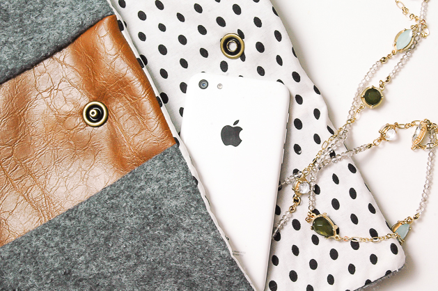 Easy DIY felt and faux leather clutch
