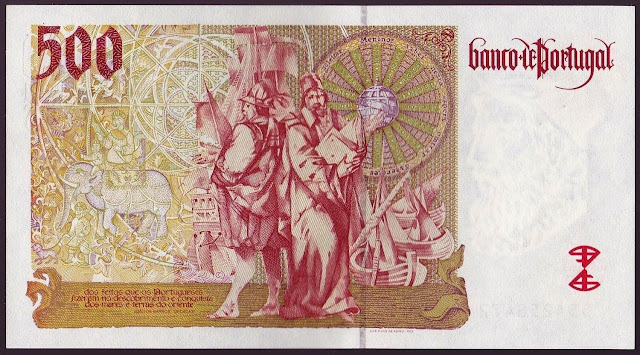 Portugal money currency 500 Escudos banknote 1997