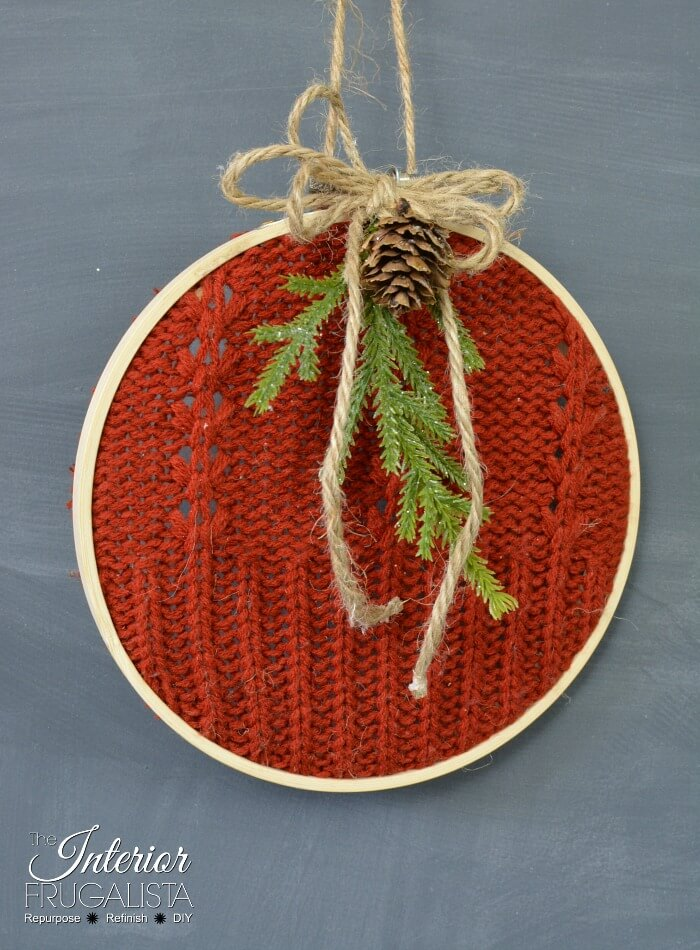 Festive Recycled Red Sweater Ornament