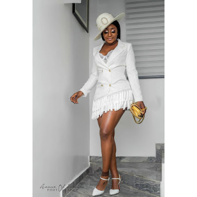 Checkout Stunning Photos Of Ini Edo In White and Gold Garb