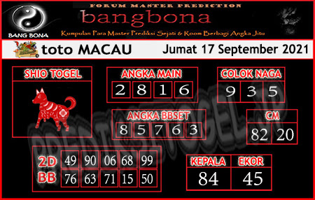 Prediksi Bangbona Toto Macau Jumat 17 September 2021