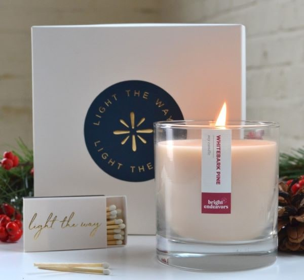 naturally scented candles from Bright Endeavors make great stocking stuffers